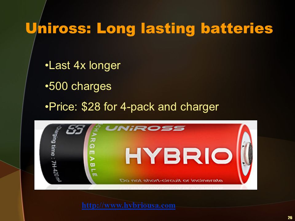 26 Uniross: Long lasting batteries Last 4x longer 500 charges Price: $28 for 4-pack and charger http://www.hybriousa.com