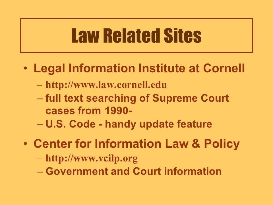 http://law.house.gov Law Related Sites List of available State Laws List of available Intl Laws