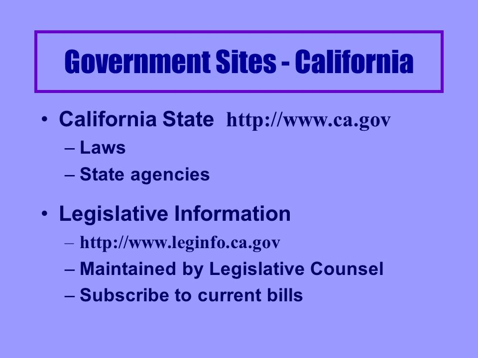 Government sites - Continued Thomas http://thomas.loc.gov –Federal legislation, Congressional Committee reports, Congressional Record, Links to committee pages, Public Laws Administrative Decisions –http:www.law.virginia.edu/Library/govadm.htm –Links to Directives, Decisions, Orders, Circulars from various Federal Agencies (Agriculture to Veterans Affairs)