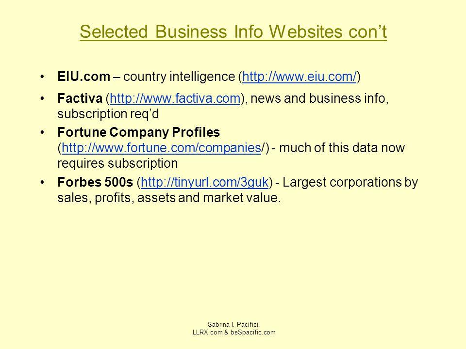 Sabrina I. Pacifici, LLRX.com & beSpacific.com Selected Business Info Websites cont EIU.com – country intelligence (http://www.eiu.com/)http://www.eiu