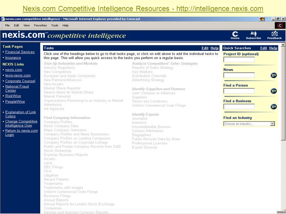 Sabrina I. Pacifici, LLRX.com & beSpacific.com Nexis.com Competitive Intelligence Resources - http://intelligence.nexis.com