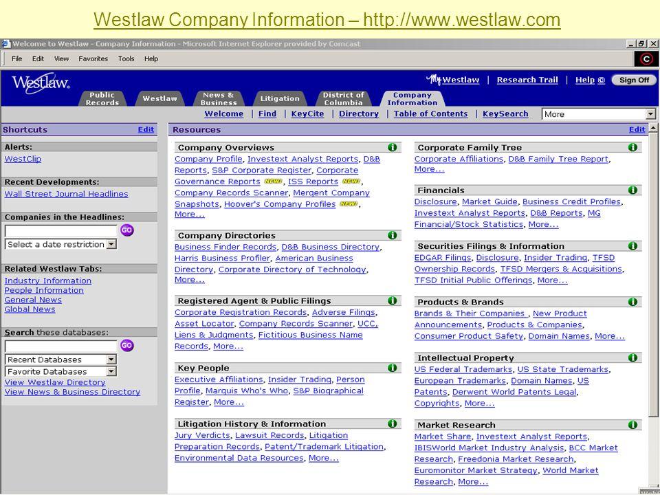 Sabrina I. Pacifici, LLRX.com & beSpacific.com Westlaw Company Information – http://www.westlaw.com