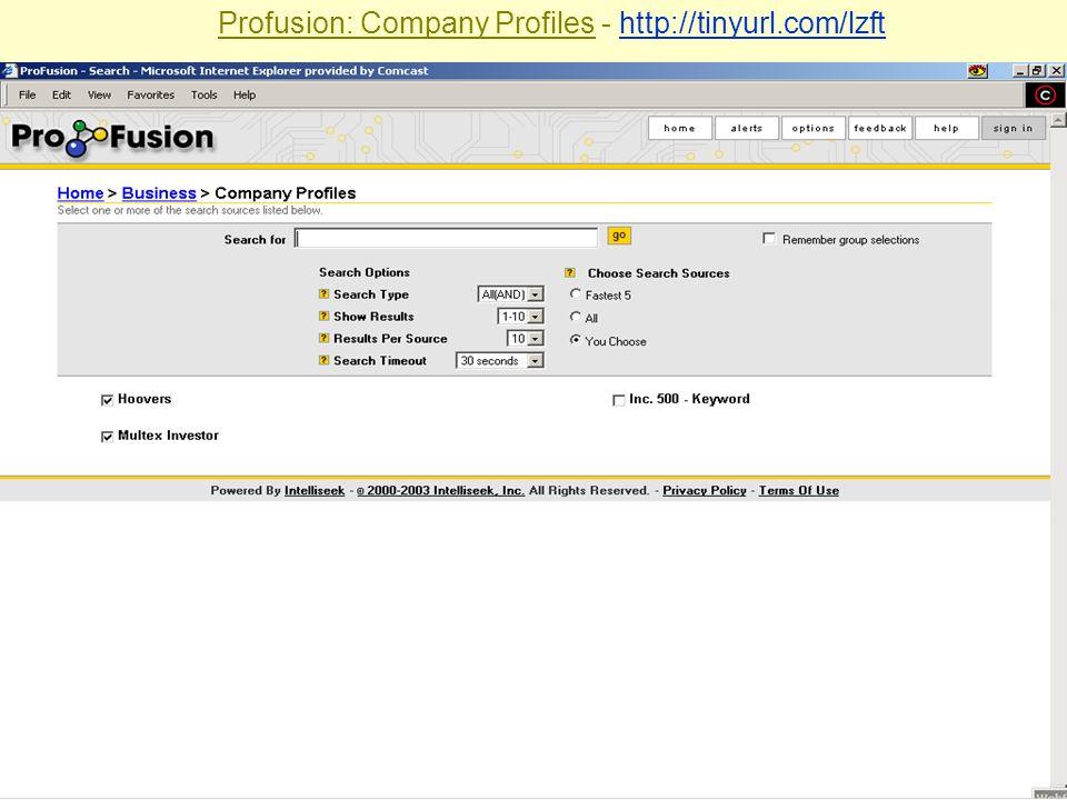 Sabrina I. Pacifici, LLRX.com & beSpacific.com Profusion: Company Profiles - http://tinyurl.com/lzfthttp://tinyurl.com/lzft
