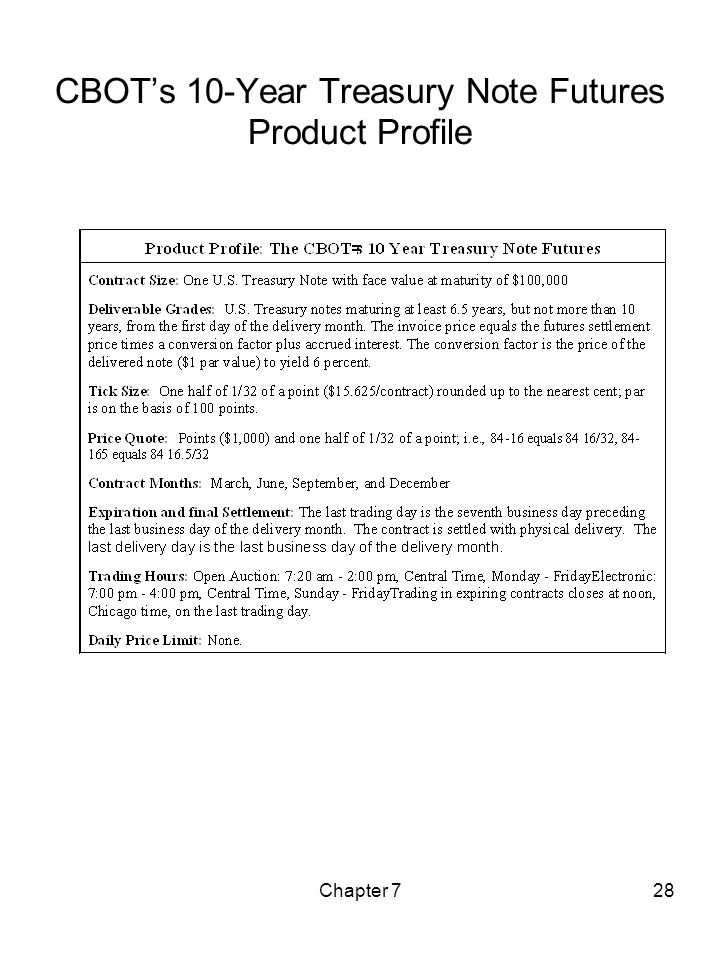 Chapter 728 CBOTs 10-Year Treasury Note Futures Product Profile