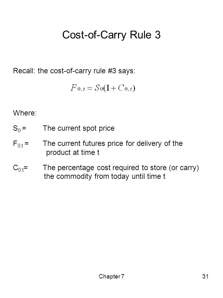 Chapter 731 Cost-of-Carry Rule 3 Recall: the cost-of-carry rule #3 says: Where: S 0 = The current spot price F 0,t = The current futures price for del