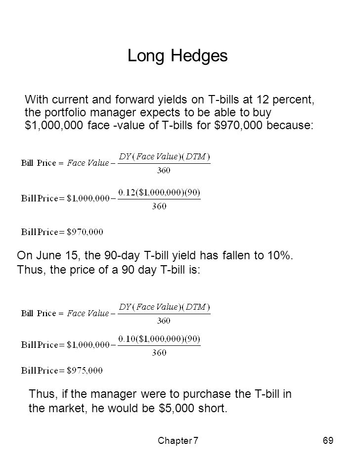 Chapter 769 Long Hedges With current and forward yields on T-bills at 12 percent, the portfolio manager expects to be able to buy $1,000,000 face -val