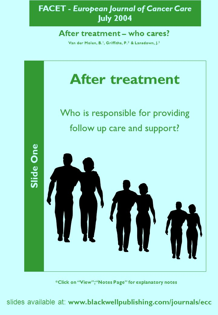 FACET - European Journal of Cancer Care July 2004 slides available at: www.blackwellpublishing.com/journals/ecc After treatment – who cares? Van der M