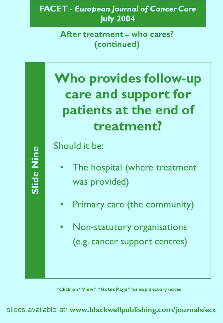 FACET - European Journal of Cancer Care July 2004 After treatment – who cares? (continued) Slide Nine *Click on View; Notes Page for explanatory notes
