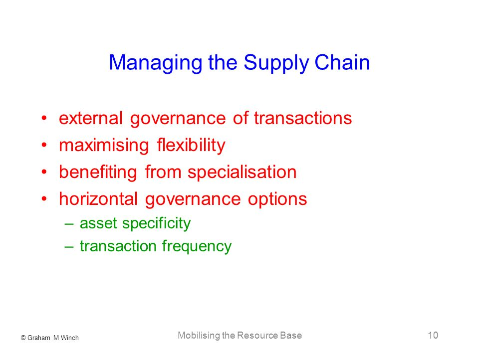 © Graham M Winch Mobilising the Resource Base10 Managing the Supply Chain external governance of transactions maximising flexibility benefiting from s
