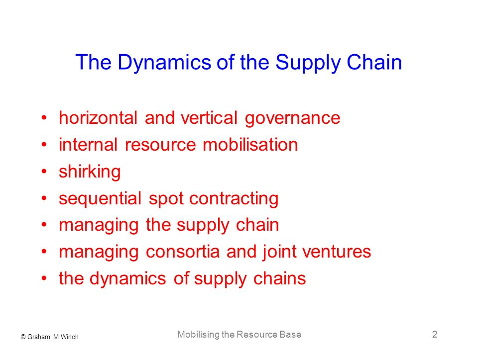 © Graham M Winch Mobilising the Resource Base2 The Dynamics of the Supply Chain horizontal and vertical governance internal resource mobilisation shir