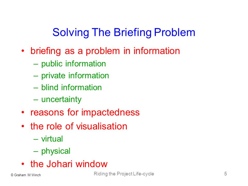 © Graham M Winch Riding the Project Life-cycle5 Solving The Briefing Problem briefing as a problem in information –public information –private information –blind information –uncertainty reasons for impactedness the role of visualisation –virtual –physical the Johari window