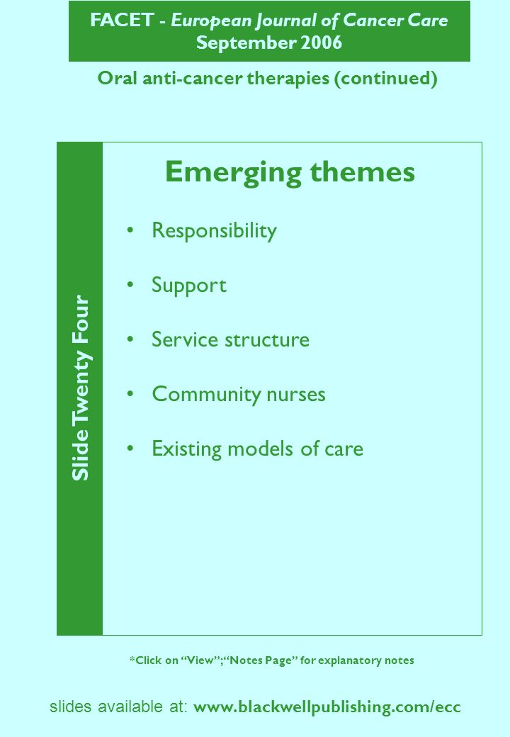 FACET - European Journal of Cancer Care September 2006 Slide Twenty Four *Click on View; Notes Page for explanatory notes slides available at: www.blackwellpublishing.com/ecc Oral anti-cancer therapies (continued) Emerging themes Responsibility Support Service structure Community nurses Existing models of care