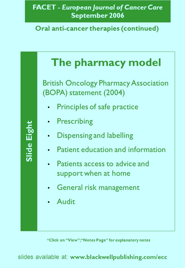 FACET - European Journal of Cancer Care September 2006 Slide Eight *Click on View; Notes Page for explanatory notes slides available at: www.blackwellpublishing.com/ecc Oral anti-cancer therapies (continued) The pharmacy model British Oncology Pharmacy Association (BOPA) statement (2004) Principles of safe practice Prescribing Dispensing and labelling Patient education and information Patients access to advice and support when at home General risk management Audit