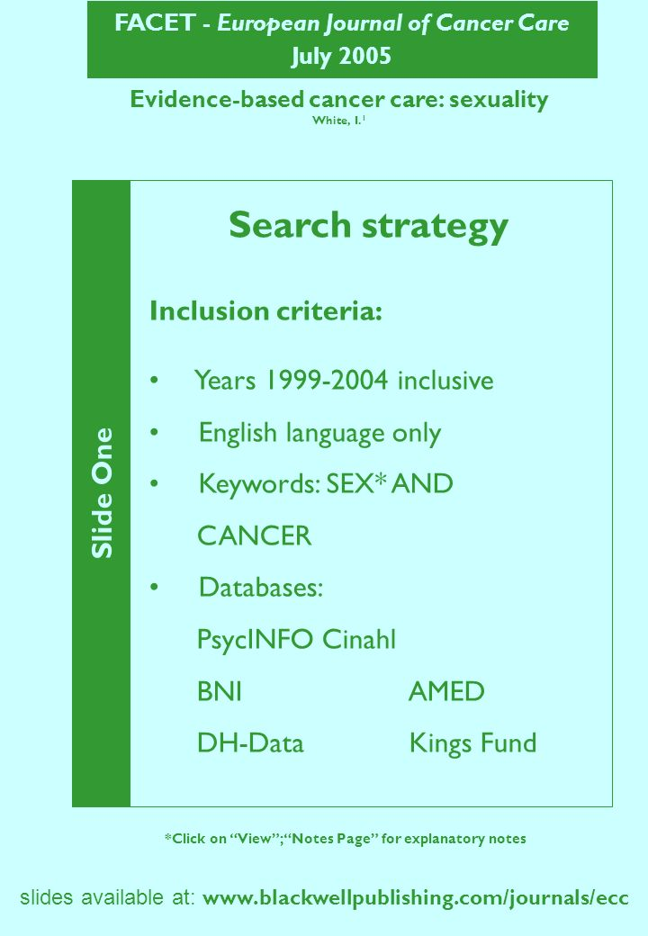 FACET - European Journal of Cancer Care July 2005 slides available at: www.blackwellpublishing.com/journals/ecc Evidence-based cancer care: sexuality (continued) Slide Two *Click on View; Notes Page for explanatory notes Search strategy Exclusion criteria: Fertility / infertility Altered body image Paediatric patients AIDS – related cancers Screening : sexuality as cancer risk factor Non-cancer patients / professionals