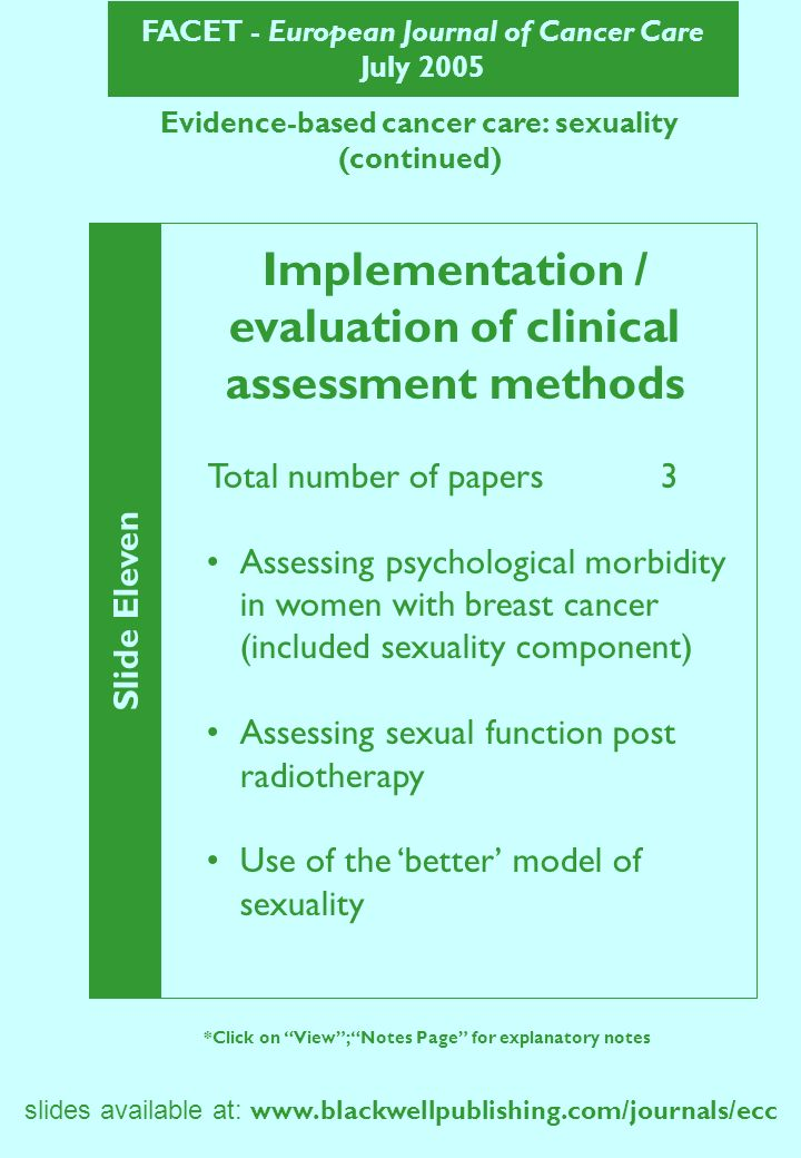 FACET - European Journal of Cancer Care July 2005 Evidence-based cancer care: sexuality (continued) Slide Eleven *Click on View; Notes Page for explan