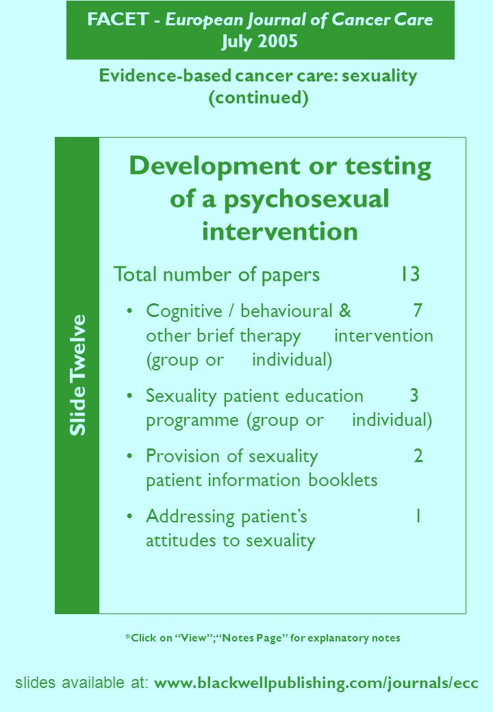 FACET - European Journal of Cancer Care July 2005 Evidence-based cancer care: sexuality (continued) Slide Twelve *Click on View; Notes Page for explan
