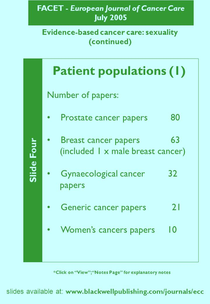 FACET - European Journal of Cancer Care July 2005 slides available at: www.blackwellpublishing.com/journals/ecc Evidence-based cancer care: sexuality (continued) Slide Five *Click on View; Notes Page for explanatory notes Patient populations (2) Number of papers: Testicular cancer 8 Advanced cancer 8 Haematological cancers 7 Head & neck cancer 6