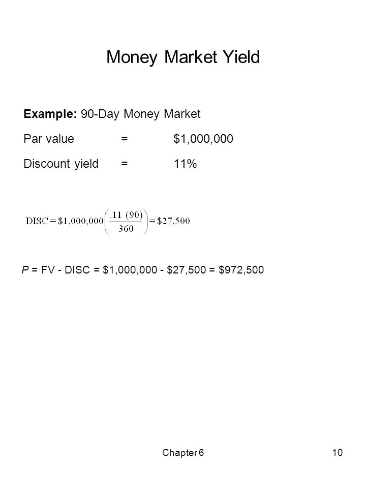 Chapter 610 Money Market Yield Example: 90-Day Money Market Par value = $1,000,000 Discount yield = 11% P = FV - DISC = $1,000,000 - $27,500 = $972,50