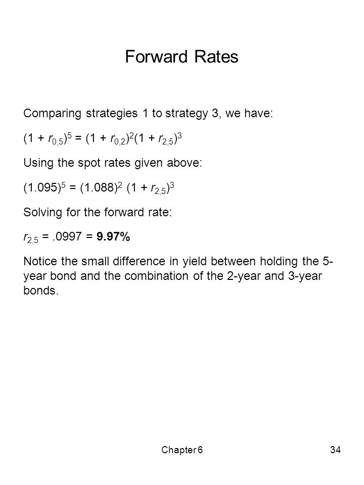 Chapter 634 Forward Rates Comparing strategies 1 to strategy 3, we have: (1 + r 0,5 ) 5 = (1 + r 0,2 ) 2 (1 + r 2,5 ) 3 Using the spot rates given abo