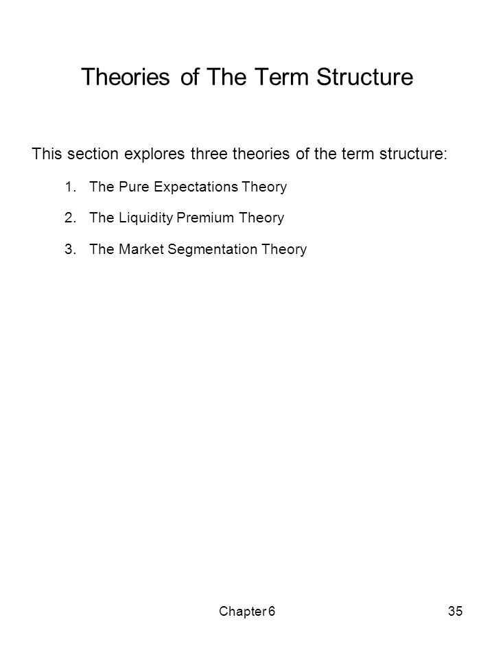 Chapter 635 Theories of The Term Structure This section explores three theories of the term structure: 1.The Pure Expectations Theory 2.The Liquidity