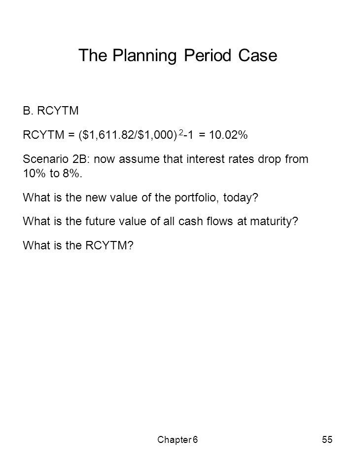 Chapter 655 The Planning Period Case B. RCYTM RCYTM = ($1,611.82/$1,000).2 -1 = 10.02% Scenario 2B: now assume that interest rates drop from 10% to 8%