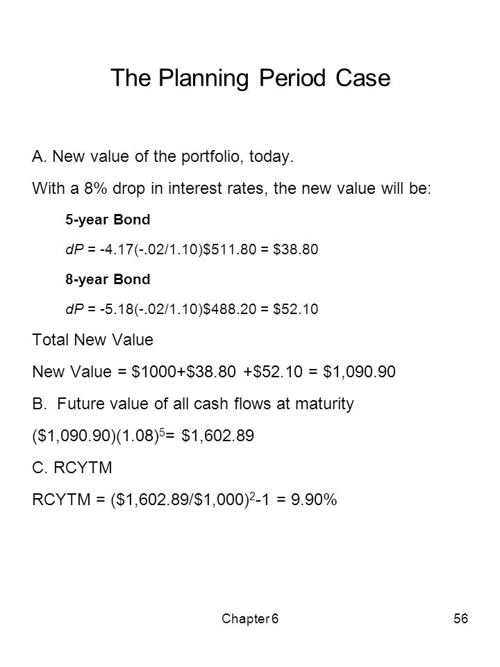 Chapter 656 The Planning Period Case A. New value of the portfolio, today. With a 8% drop in interest rates, the new value will be: 5-year Bond dP = -