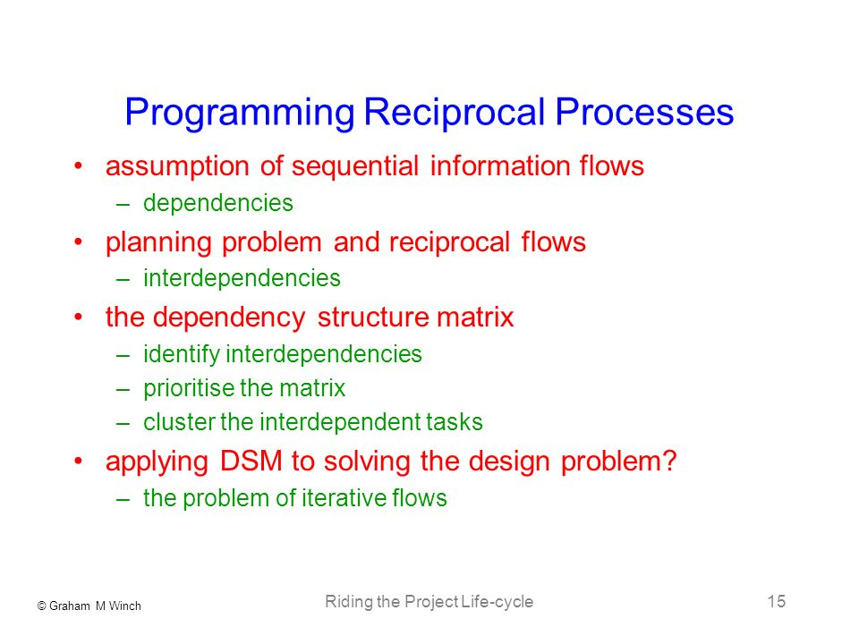 © Graham M Winch Riding the Project Life-cycle15 Programming Reciprocal Processes assumption of sequential information flows –dependencies planning pr
