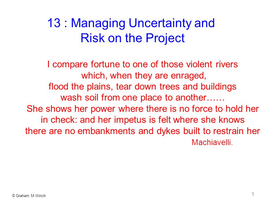© Graham M Winch 2 Managing Uncertainty and Risk on the Project what is risk.