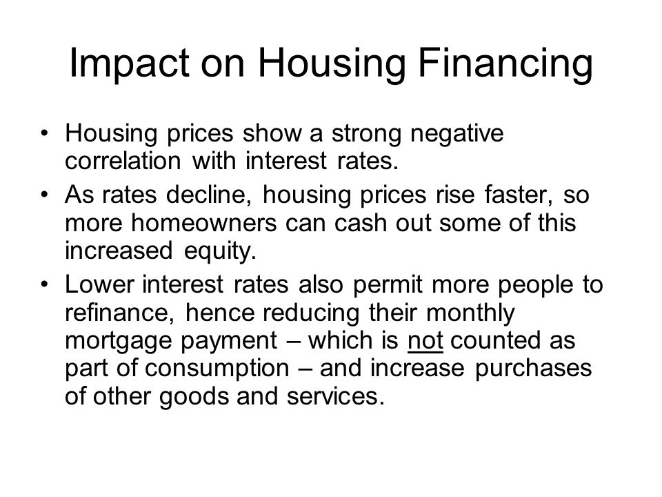 Impact on Housing Financing Housing prices show a strong negative correlation with interest rates. As rates decline, housing prices rise faster, so mo