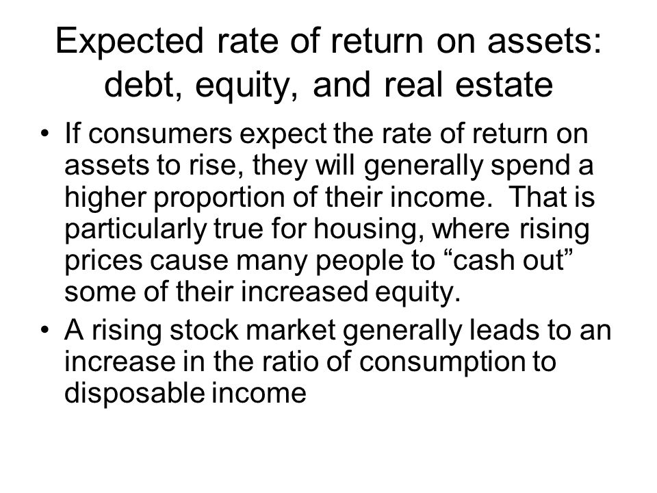 Expected rate of return on assets: debt, equity, and real estate If consumers expect the rate of return on assets to rise, they will generally spend a