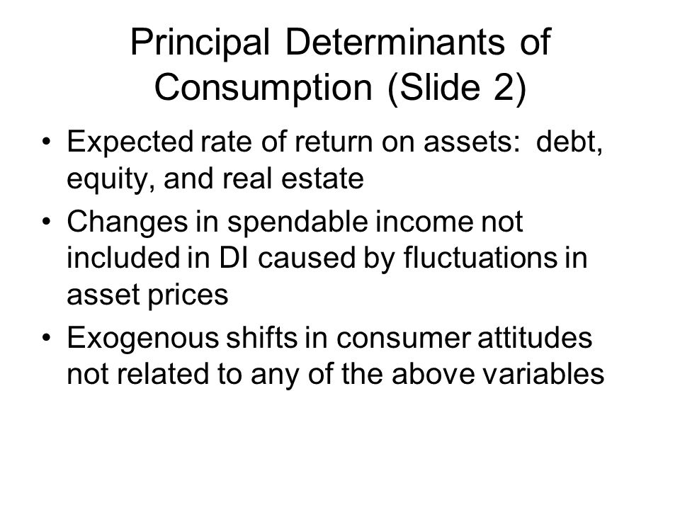 Principal Determinants of Consumption (Slide 2) Expected rate of return on assets: debt, equity, and real estate Changes in spendable income not inclu