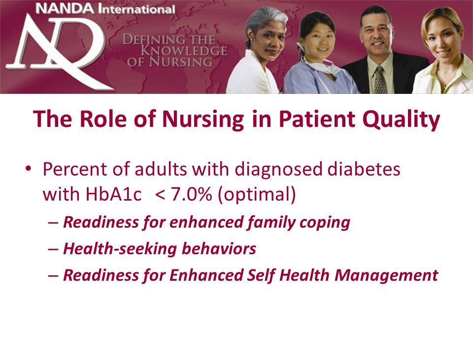 The Role of Nursing in Patient Quality Management of diabetes: – Hospital admissions for short-term complications of diabetes per 100,000 population Anxiety Ineffective coping Ineffective health maintenance Risk for injury Deficient knowledge Ineffective Self Health Management