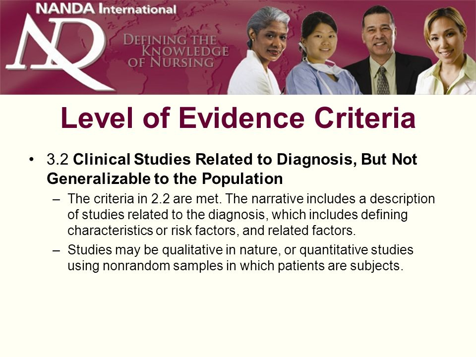Level of Evidence Criteria 3.3 Well-Designed Clinical Studies with Small Sample Sizes –The criteria in 2.2 are met.