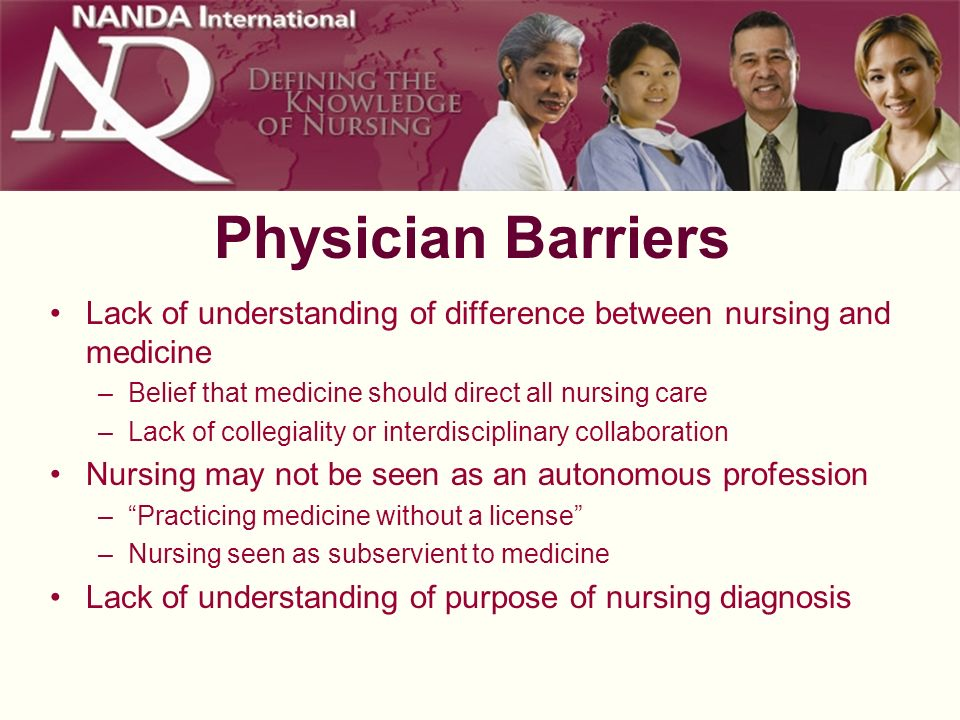 Physician Barriers Lack of understanding of difference between nursing and medicine –Belief that medicine should direct all nursing care –Lack of coll