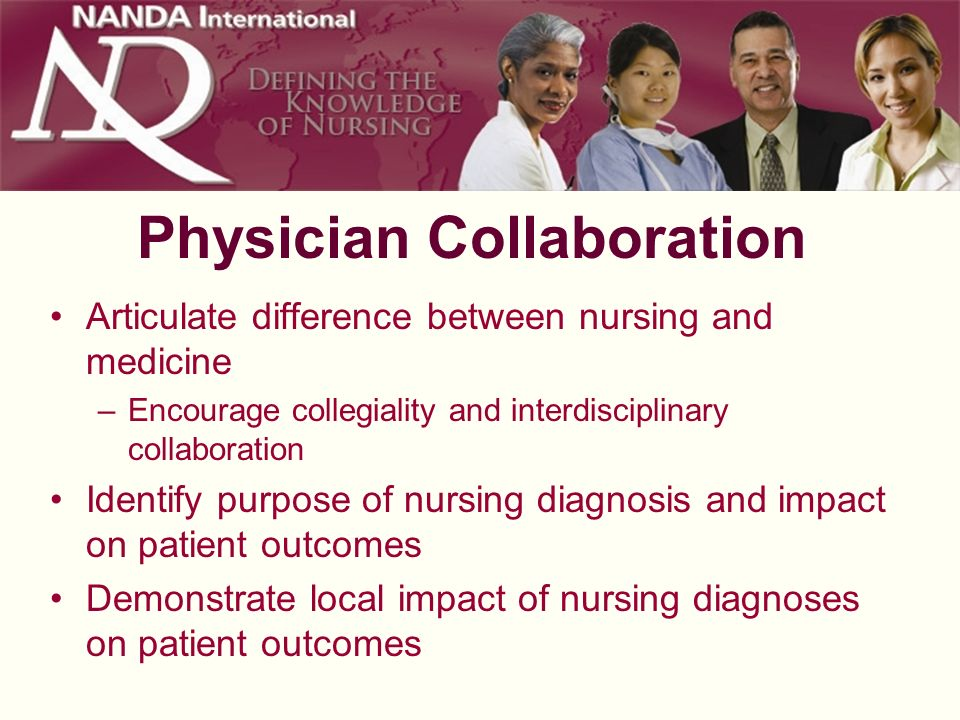 Physician Collaboration Articulate difference between nursing and medicine –Encourage collegiality and interdisciplinary collaboration Identify purpos