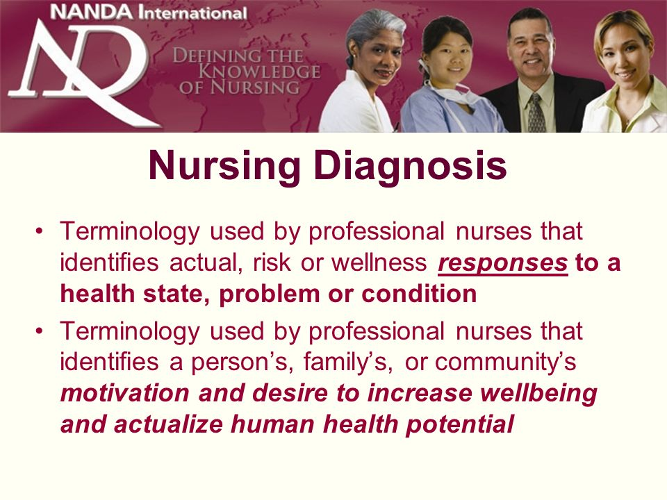 Nursing Diagnosis Terminology used by professional nurses that identifies actual, risk or wellness responses to a health state, problem or condition T