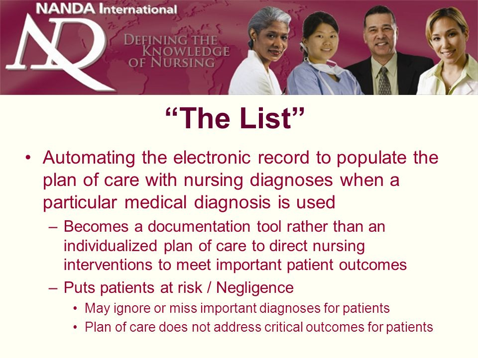 The List Automating the electronic record to populate the plan of care with nursing diagnoses when a particular medical diagnosis is used –Becomes a d