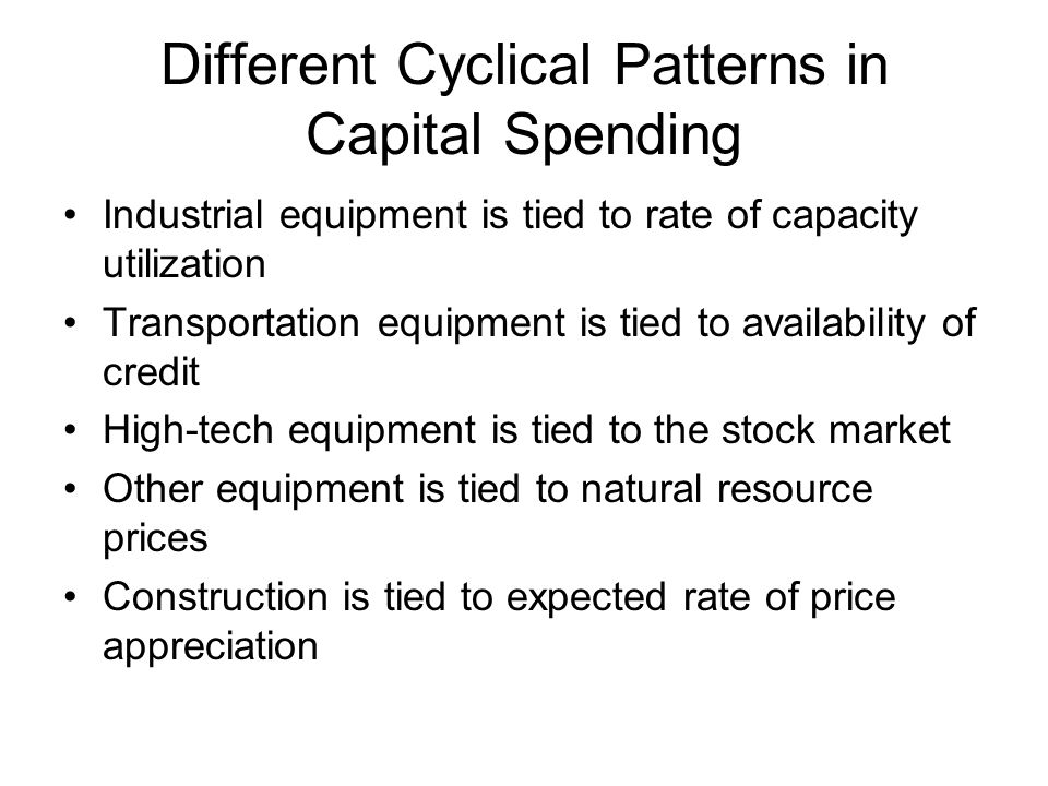 Different Cyclical Patterns in Capital Spending Industrial equipment is tied to rate of capacity utilization Transportation equipment is tied to avail