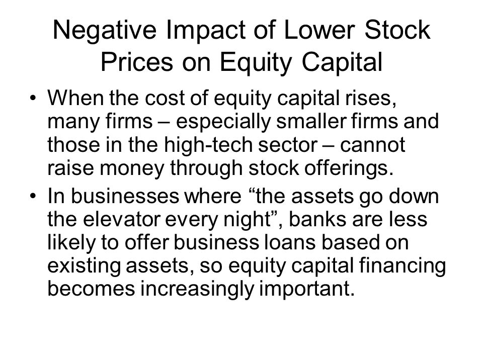 Negative Impact of Lower Stock Prices on Equity Capital When the cost of equity capital rises, many firms – especially smaller firms and those in the high-tech sector – cannot raise money through stock offerings.