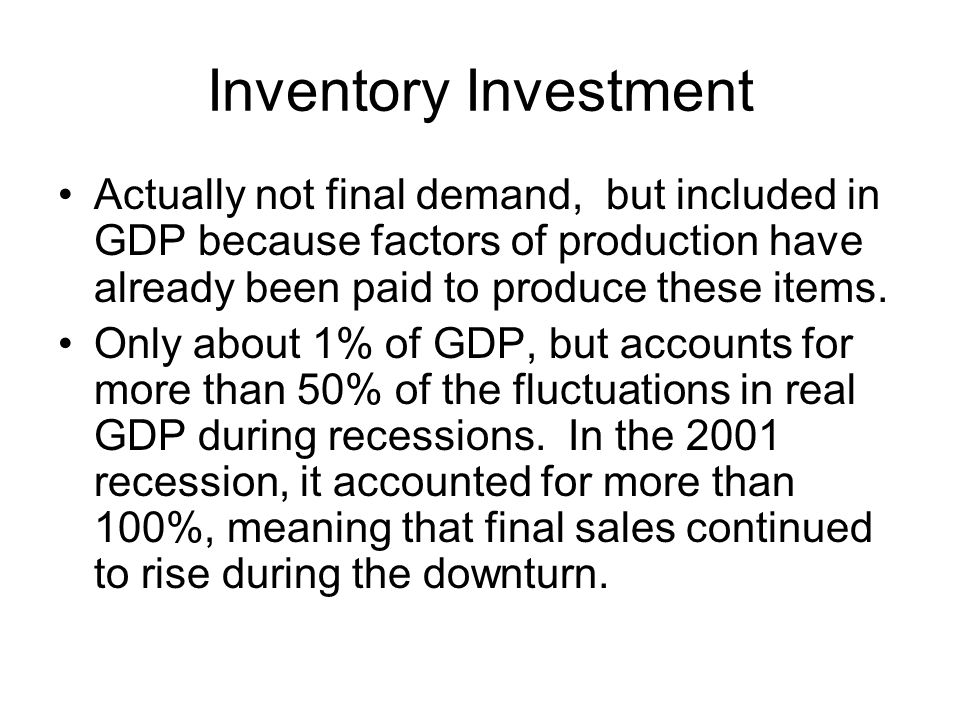 Inventory Investment Actually not final demand, but included in GDP because factors of production have already been paid to produce these items.