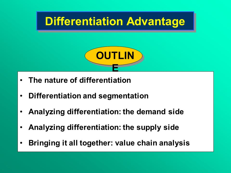 Differentiation Advantage The nature of differentiation Differentiation and segmentation Analyzing differentiation: the demand side Analyzing differen