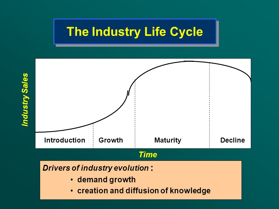 The Industry Life Cycle Drivers of industry evolution : demand growth creation and diffusion of knowledge Introduction Growth Maturity Decline Industr