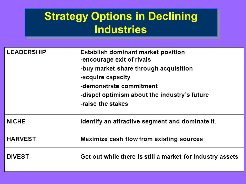 Strategy Options in Declining Industries LEADERSHIPEstablish dominant market position -encourage exit of rivals -buy market share through acquisition -acquire capacity -demonstrate commitment -dispel optimism about the industrys future -raise the stakes NICHEIdentify an attractive segment and dominate it.
