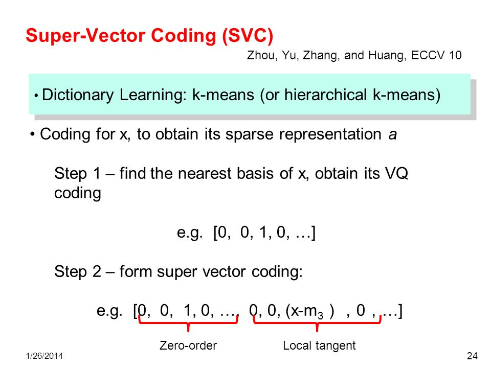 Super-Vector Coding (SVC) 1/26/2014 24 Dictionary Learning: k-means (or hierarchical k-means) Coding for x, to obtain its sparse representation a Step
