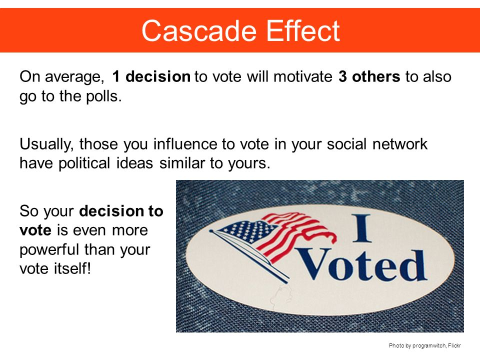 Cascade Effect Photo by programwitch, Flickr On average, 1 decision to vote will motivate 3 others to also go to the polls.