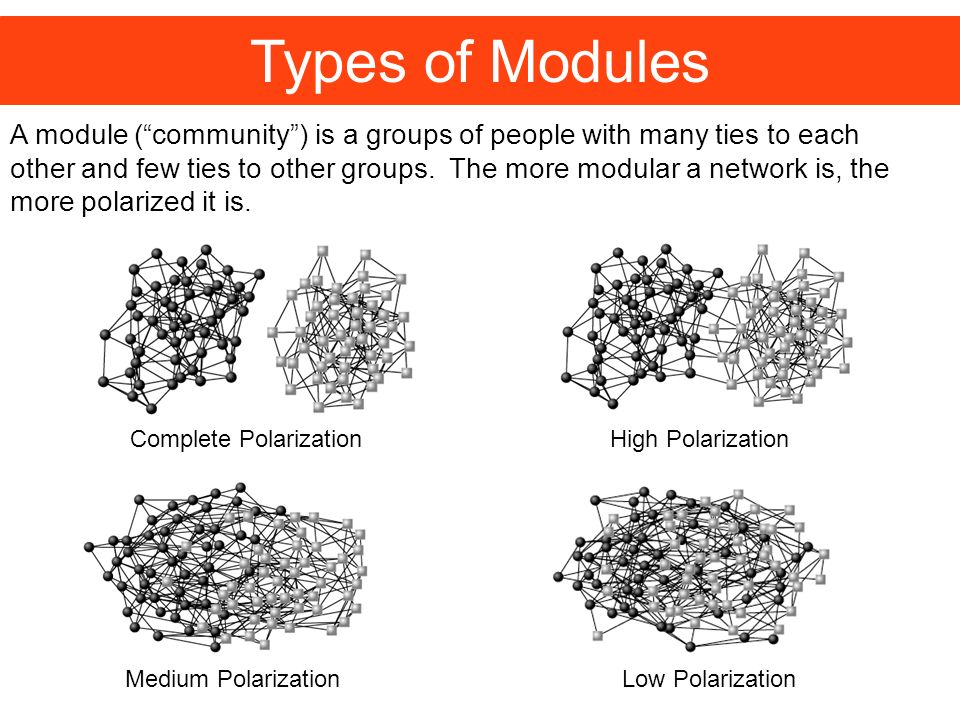 Medium Polarization Types of Modules Complete Polarization A module (community) is a groups of people with many ties to each other and few ties to other groups.