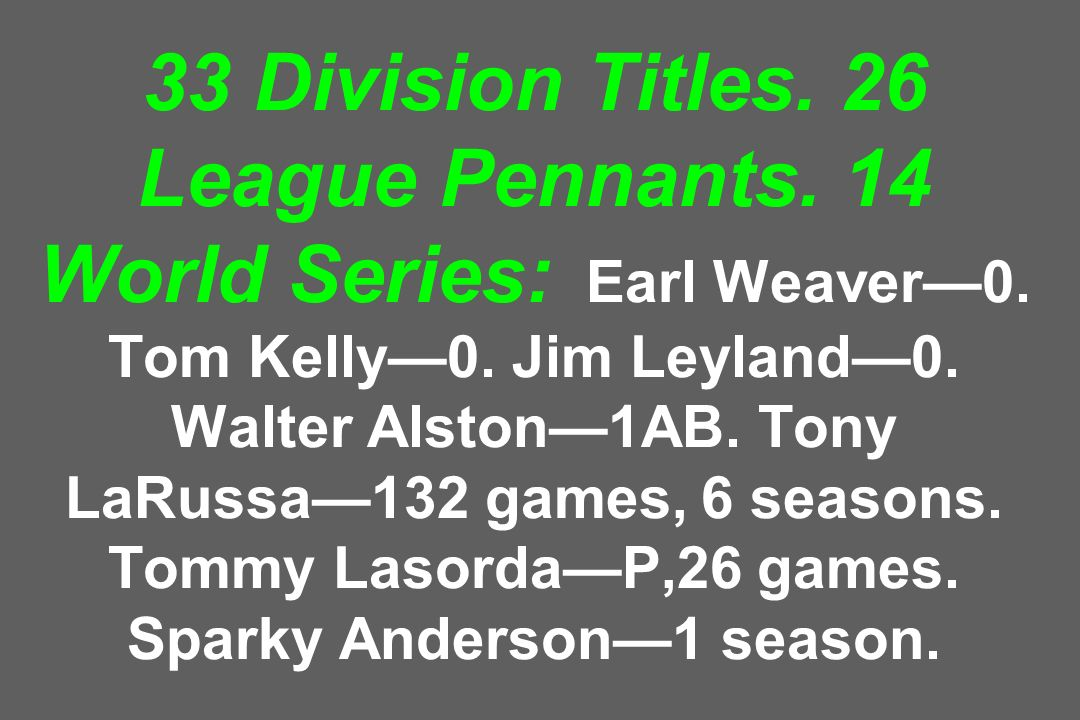 33 Division Titles. 26 League Pennants. 14 World Series: Earl Weaver0. Tom Kelly0. Jim Leyland0. Walter Alston1AB. Tony LaRussa132 games, 6 seasons. T