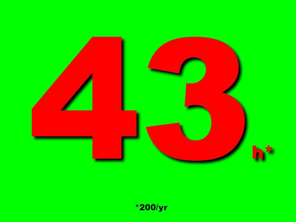 43 h* 43 h* *200/yr