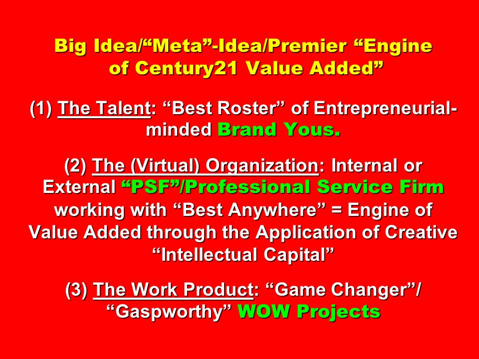 Big Idea/Meta-Idea/Premier Engine of Century21 Value Added (1) The Talent: Best Roster of Entrepreneurial- minded Brand Yous. (2) The (Virtual) Organi