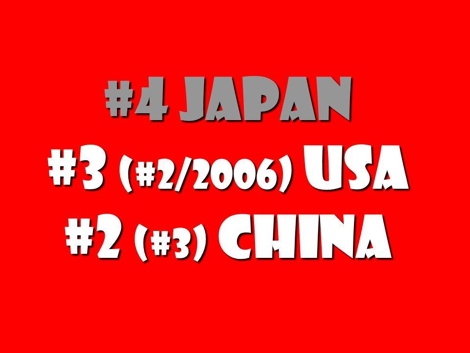 #4 Japan #3 (#2/2006) USA #2 (#3) China